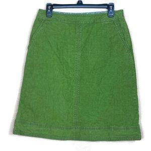 Boden Corduroy Skirt A-line Green Size 8